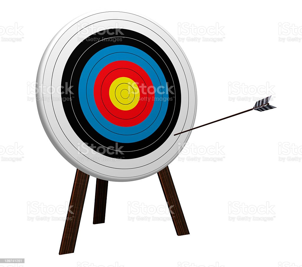 Target board on stand with arrow that has missed its mark stock photo
