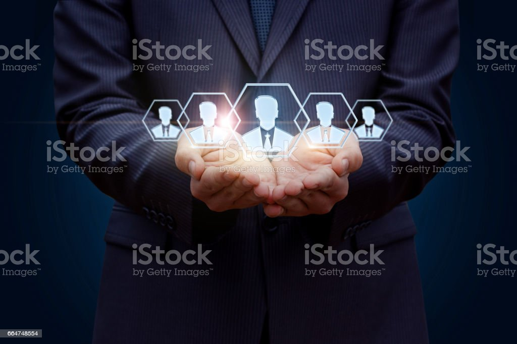 Target customers in the hands. stock photo