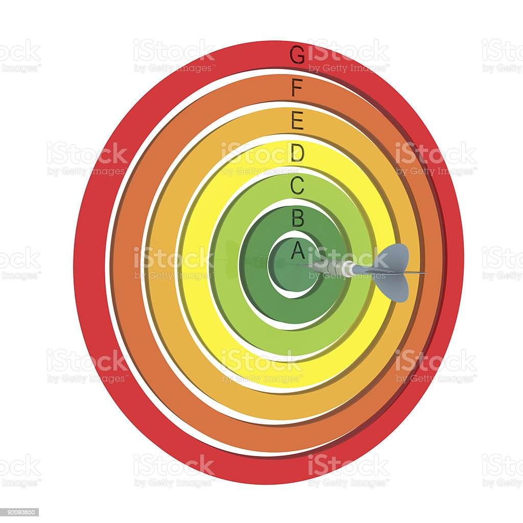 Target energy performance scale royalty-free stock photo