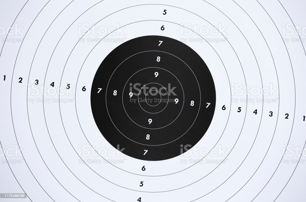 Close up of a paper target for shooting practice at shooting range....