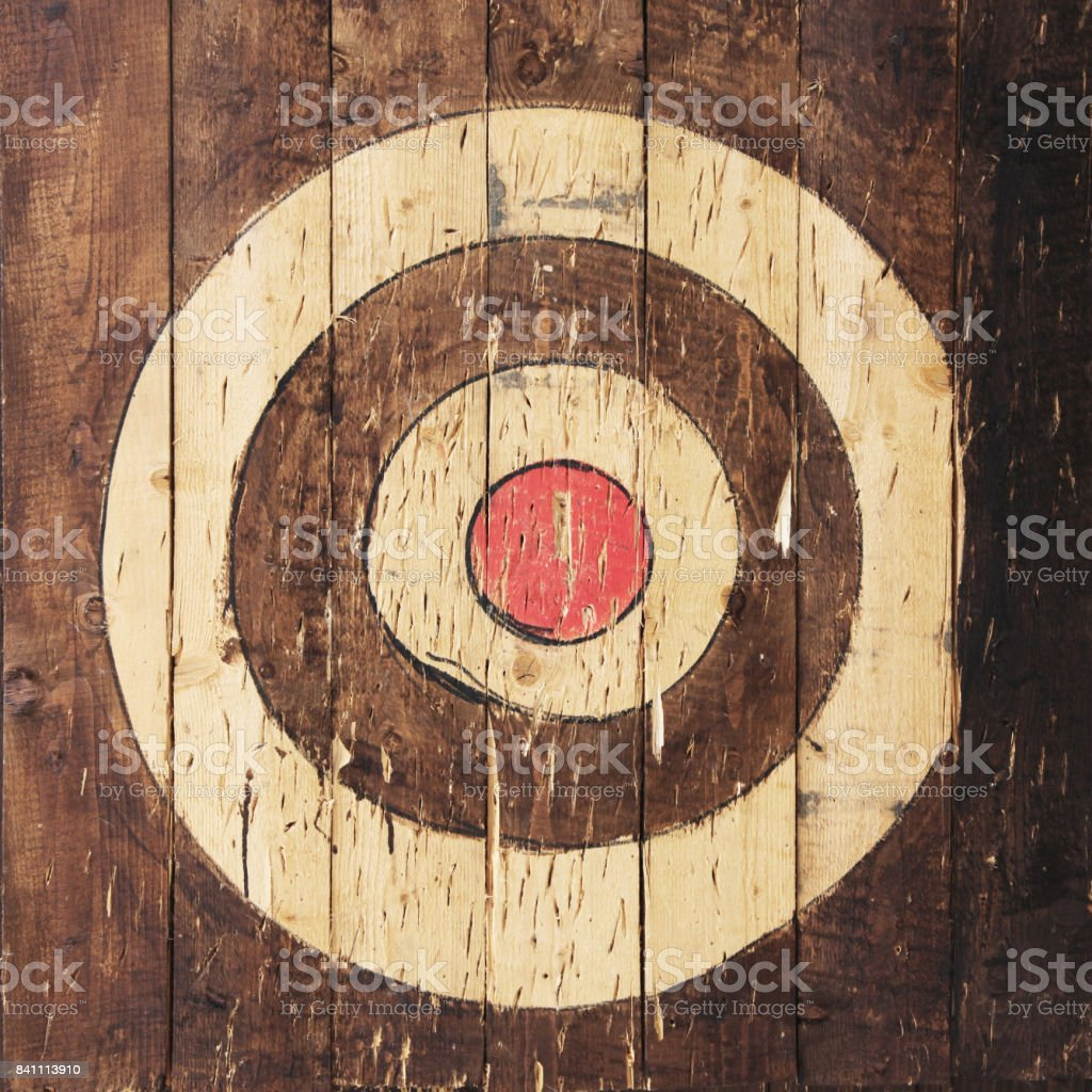 Target is painted on wooden planks stock photo