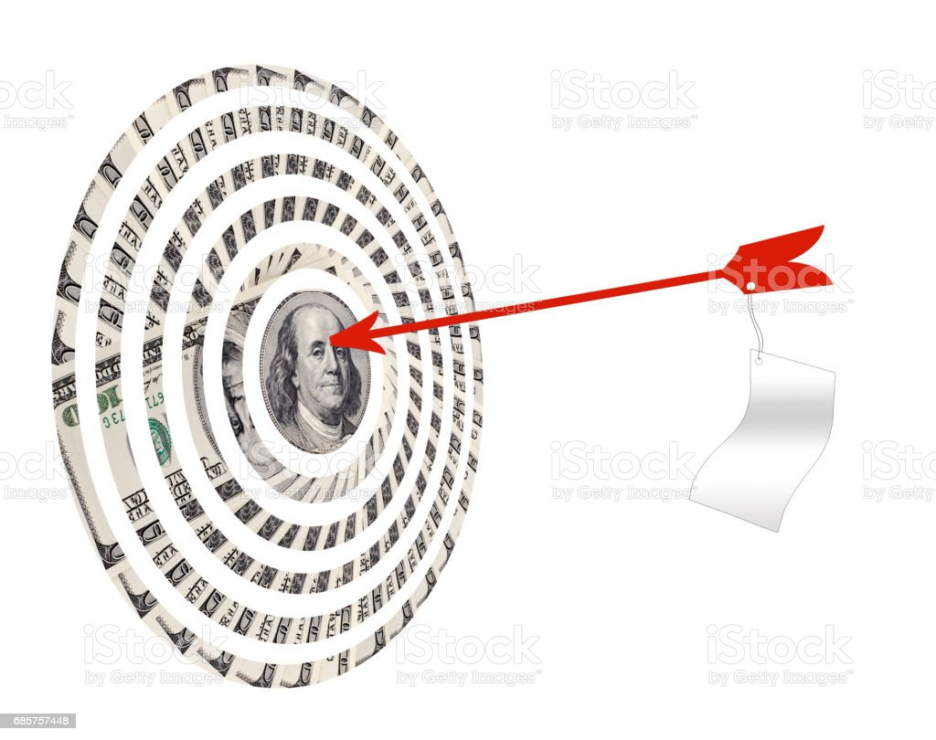 target of very many  mass currency note  dollars with arrow, on white background, isolated royaltyfri bildbanksbilder