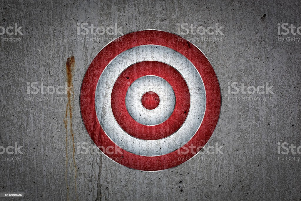 Target on cement wall stock photo