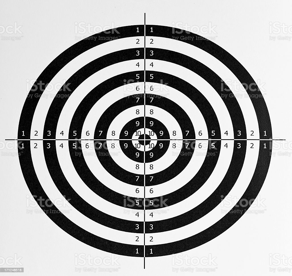 Target intact on white.