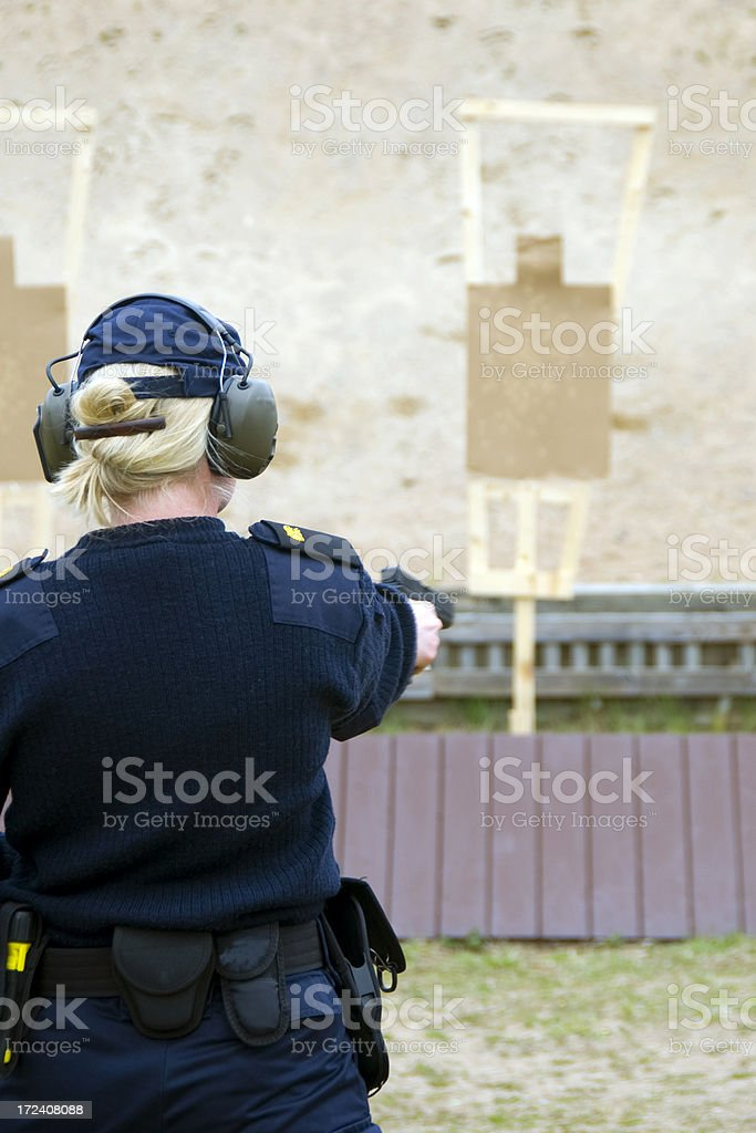 Target practicing with gun stock photo