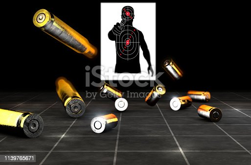 istock Target shooting. Silhouette of a man with gun in his hand, criminal, delinquent. Target on his chest and head. Bullets 1139765671