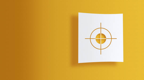 target sign on white information paper on yellow background target sign on white square paper on yellow background with large copy space sports target stock pictures, royalty-free photos & images