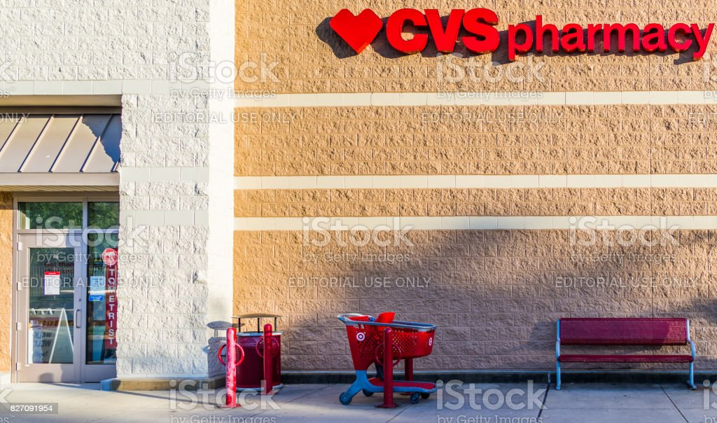 Target store with CVS Pharmacy sign and shopping cart stock photo