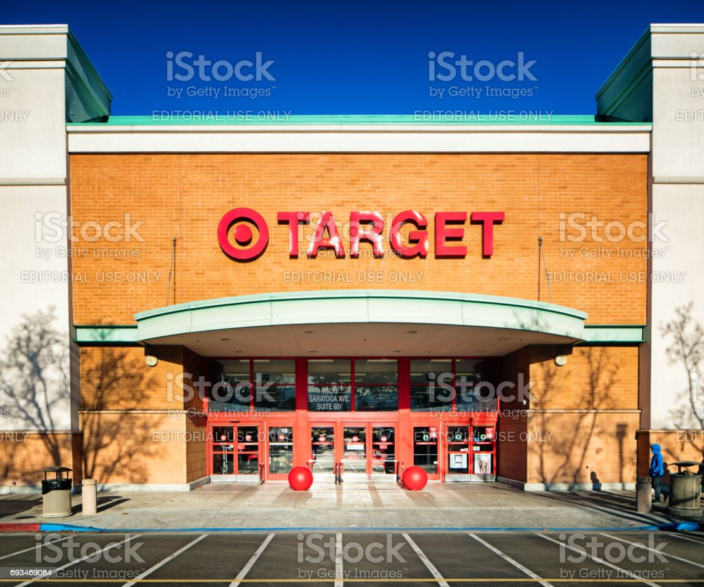 Target super store entrance facade with sign Target super store entrance facade with sign, photographed in San Jose, California on boxing day. Architectural Column Stock Photo
