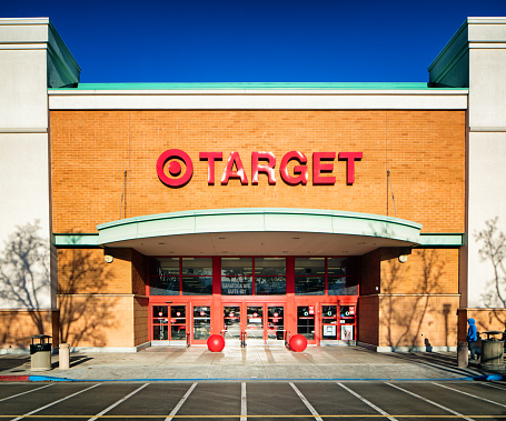 Target Super Store Entrance Facade With Sign Stock Photo - Download Image Now
