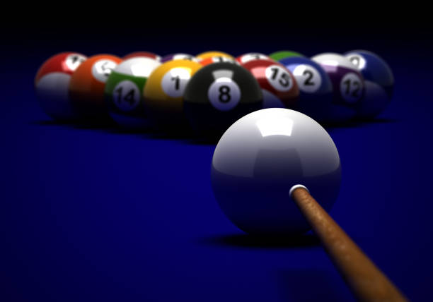 target to billiard balls - pool cue stock photos and pictures