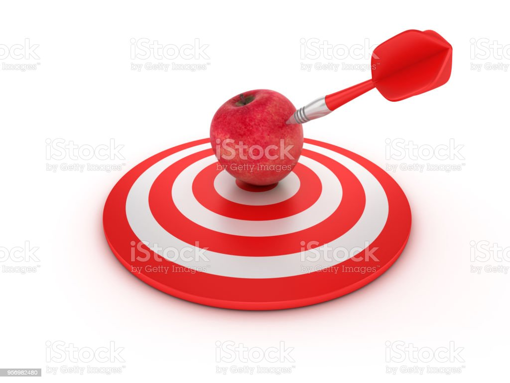 Target With Apple And Dart 3d Rendering Stock Photo More Pictures