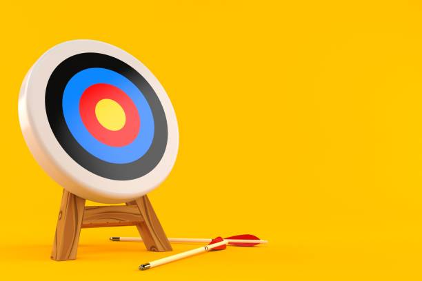 target with arrows - sports target stock photos and pictures
