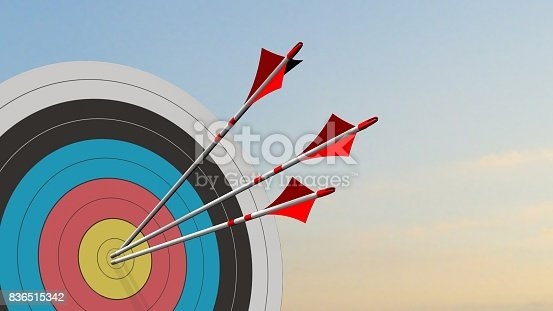 859332096istockphoto Target with arrows - Target with three bow arrows in the middle of the target 836515342