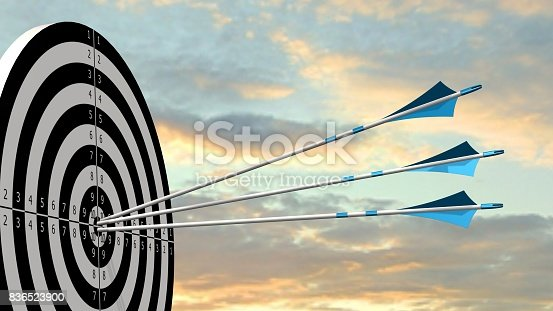 istock Target with arrows - Target with three bow arrows in the middle of the target 836523900