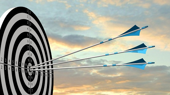 Target With Arrows Target With Three Bow Arrows In The Middle Of The Target Stock Photo - Download Image Now