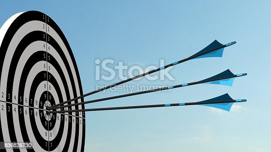 859332096istockphoto Target with arrows - Target with three bow arrows in the middle of the target 836526730