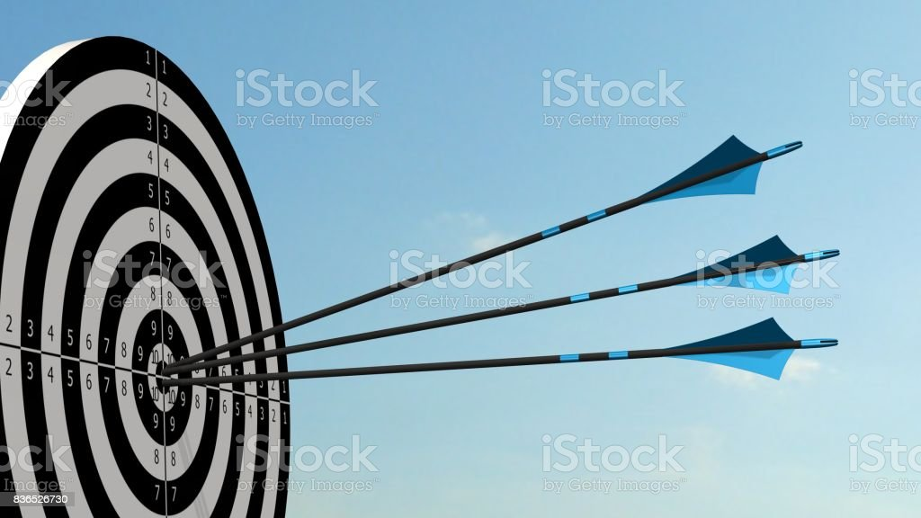Target with arrows - Target with three bow arrows in the middle of the target stock photo