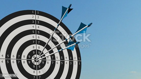 859332096istockphoto Target with arrows - Target with three bow arrows in the middle of the target 836526780