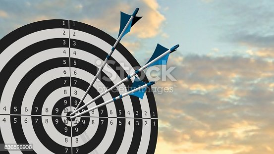 istock Target with arrows - Target with three bow arrows in the middle of the target 836526906