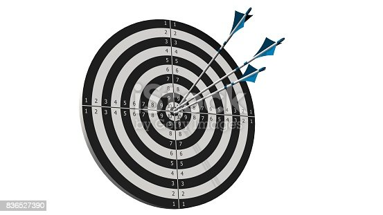 859332096istockphoto Target with arrows - Target with three bow arrows in the middle of the target isolated on white 836527390