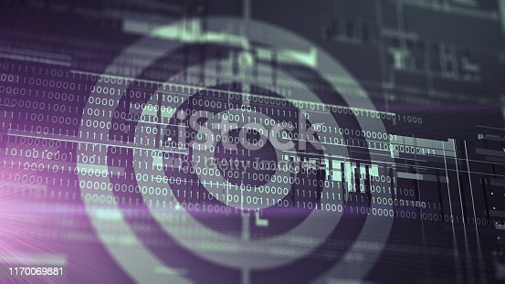 Target with digital binary code abstract background