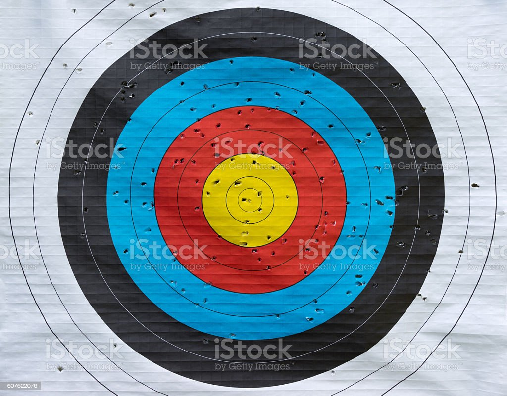 Target with many hits stock photo