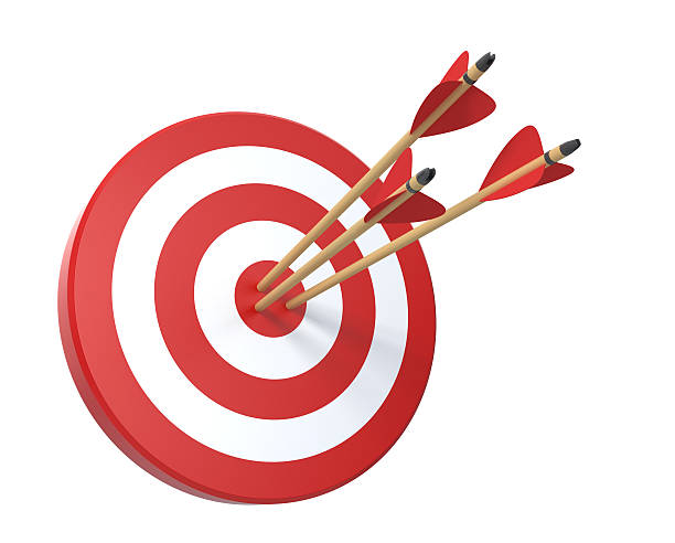 target with three arrows - sports target stock photos and pictures