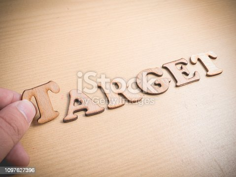 Target. Motivational internet business words quotes, wooden lettering typography concept