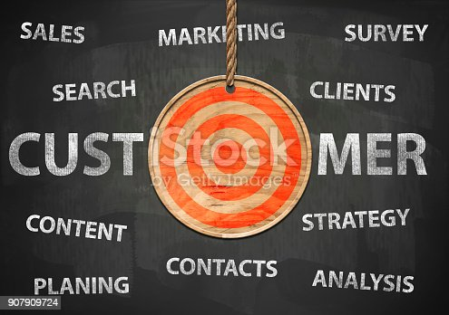 istock Target your customer / Blackboard concept (Click for more) 907909724