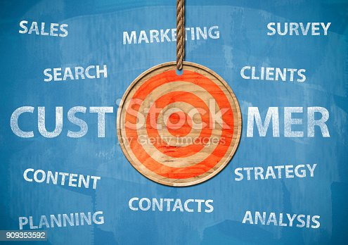 istock Target your customer / Blue board cocnept (Click for more) 909353592