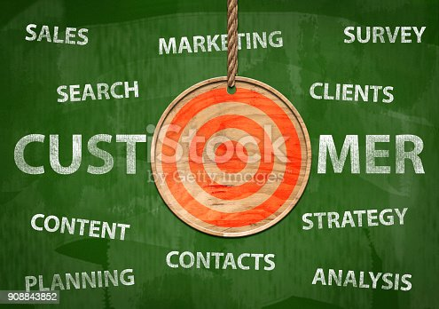 istock Target your customer / Green board cocnept (Click for more) 908843852