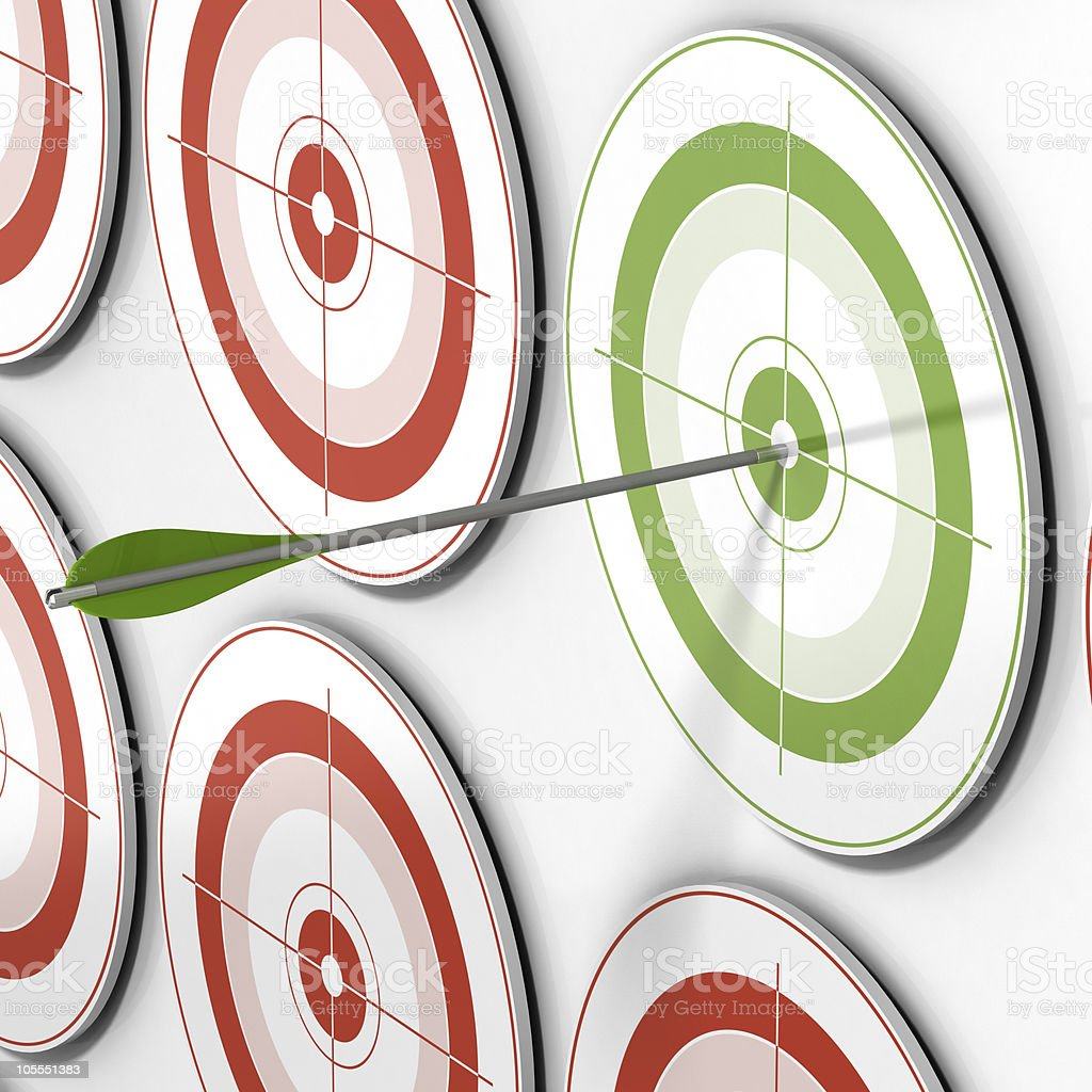 Targeted - arrow and targets symbol of success royalty-free stock photo