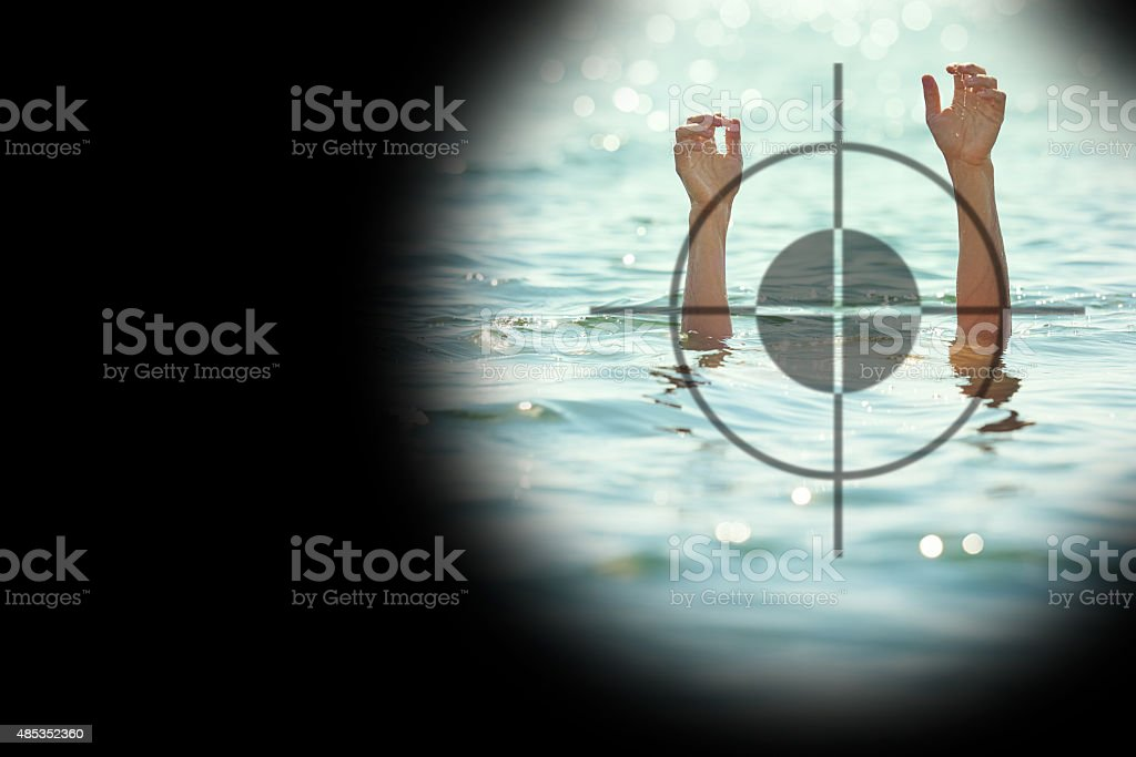 target-man drowning stock photo