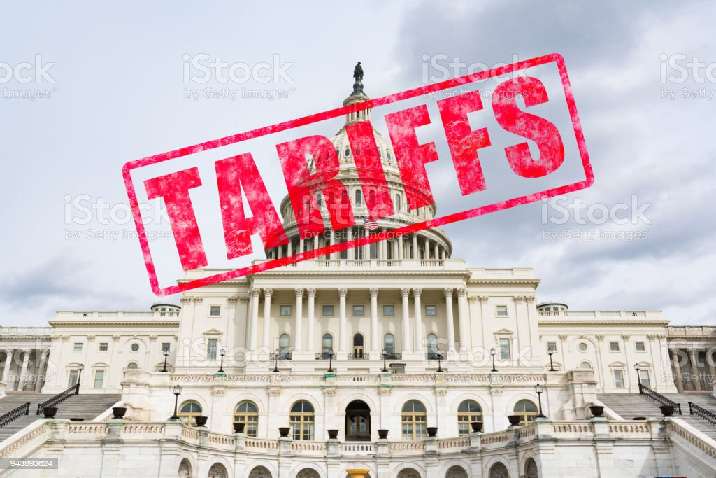 Tariff Stamp on United States Capitol stock photo