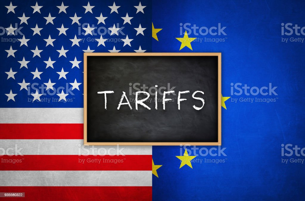 Tariffs between America and the European Union stock photo
