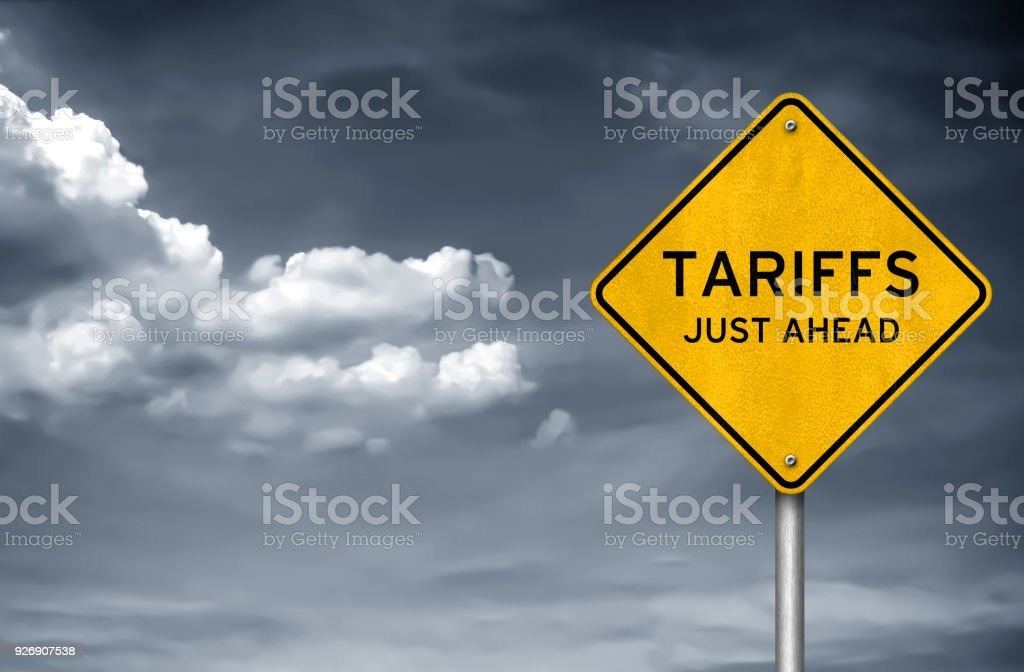 Tariffs - just ahead stock photo
