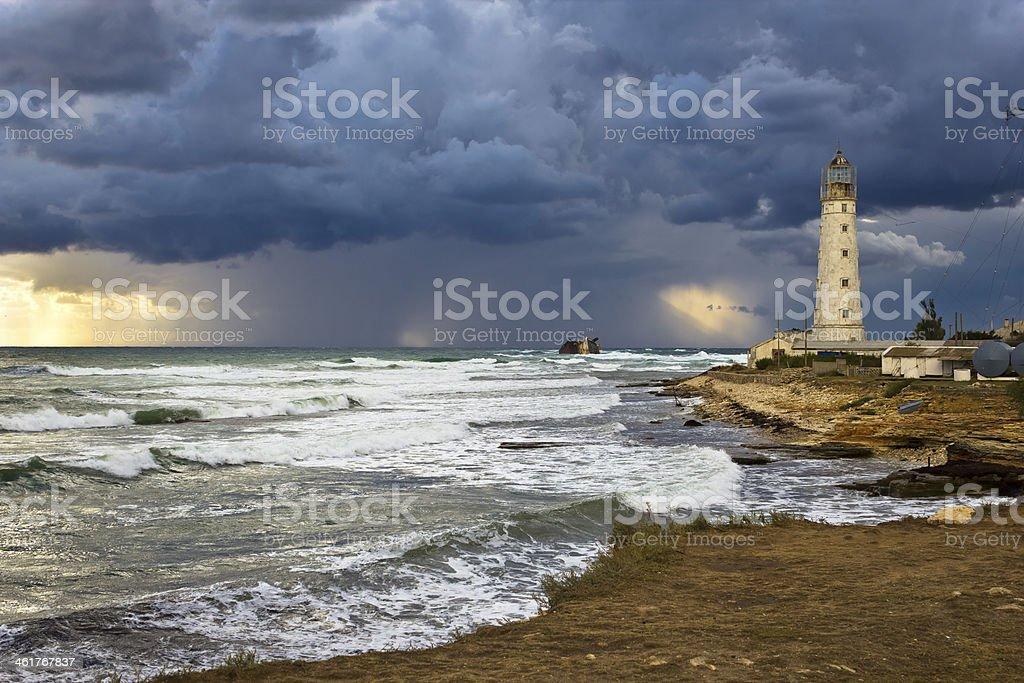 Tarkhankut lighthouse stock photo