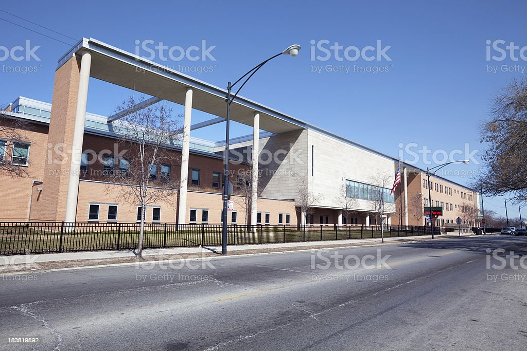 Tarkington Elementary School in Chicago Lawn royalty-free stock photo