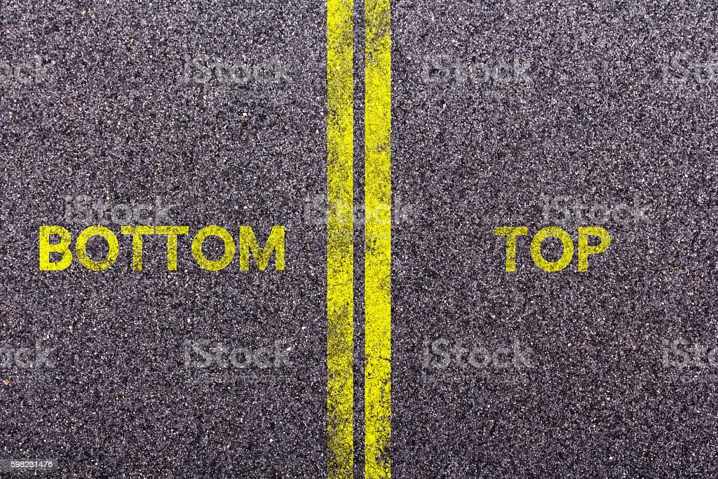Tarmac with the words bottom and top foto royalty-free
