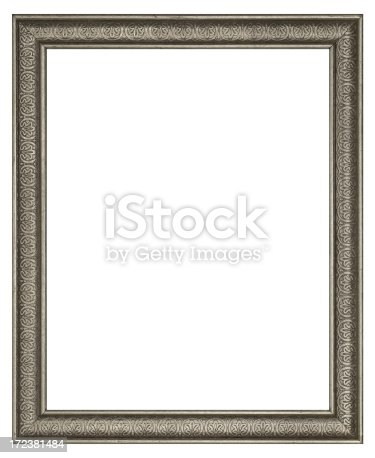 istock Tarnished Silver Rectangle Picture Frame.  8X10 Aspect Ratio.  Isolated 172381484