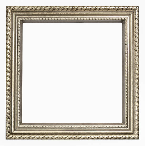 Tarnished Silver Square Picture Frame.  Isolated on White Clipping Path stock photo