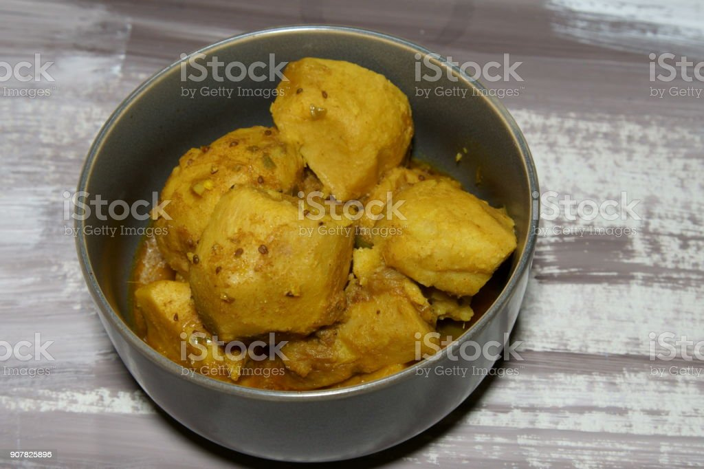 Taro root or Arvi curry stock photo