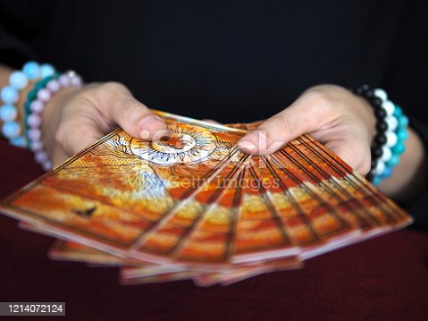 tarot card reading fortune teller astrologer divination selected focus