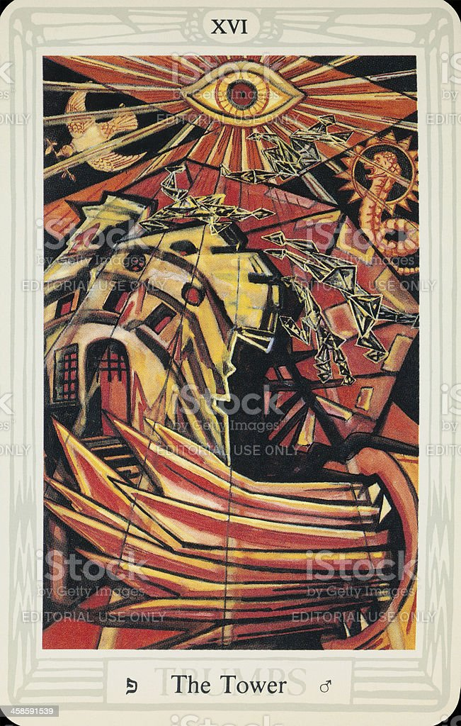 Tarot Card - The Blasted Tower stock photo