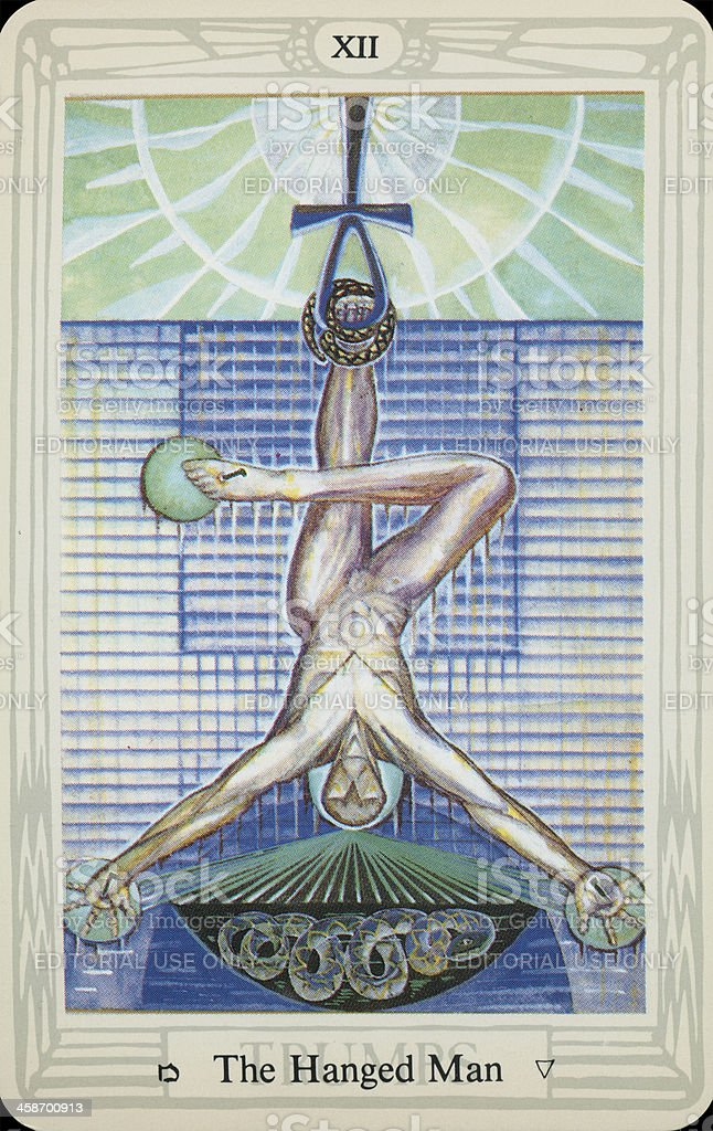 Tarot Card - The Hanged Man stock photo