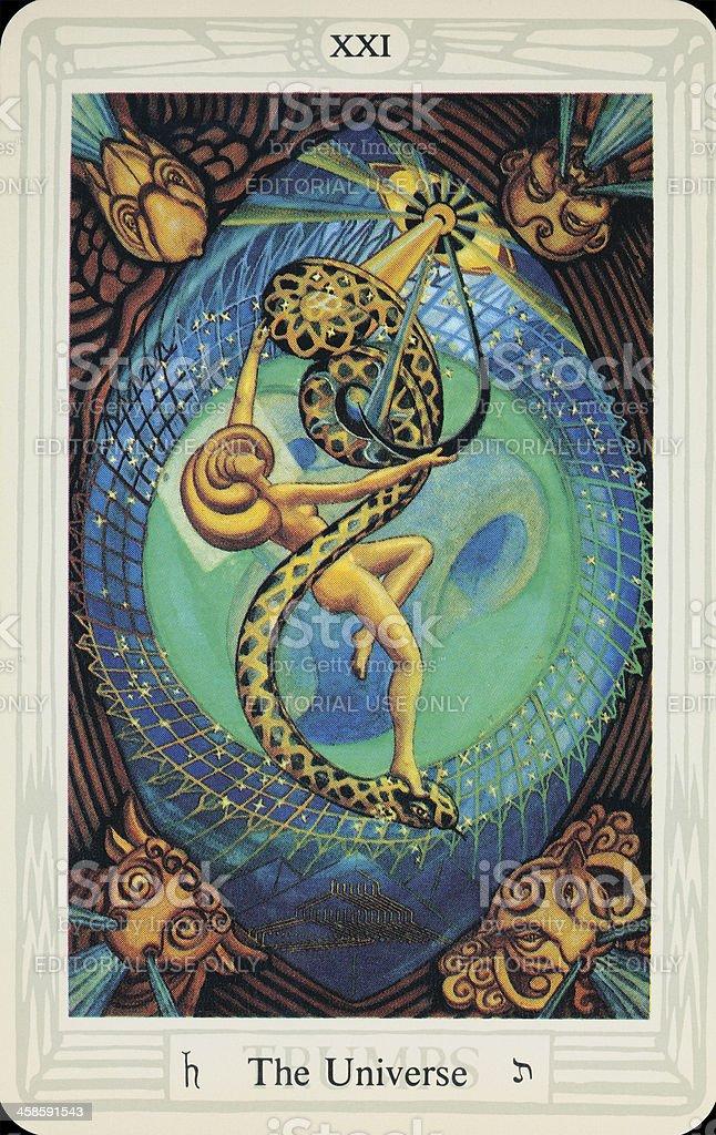 Tarot Card - The Universe stock photo