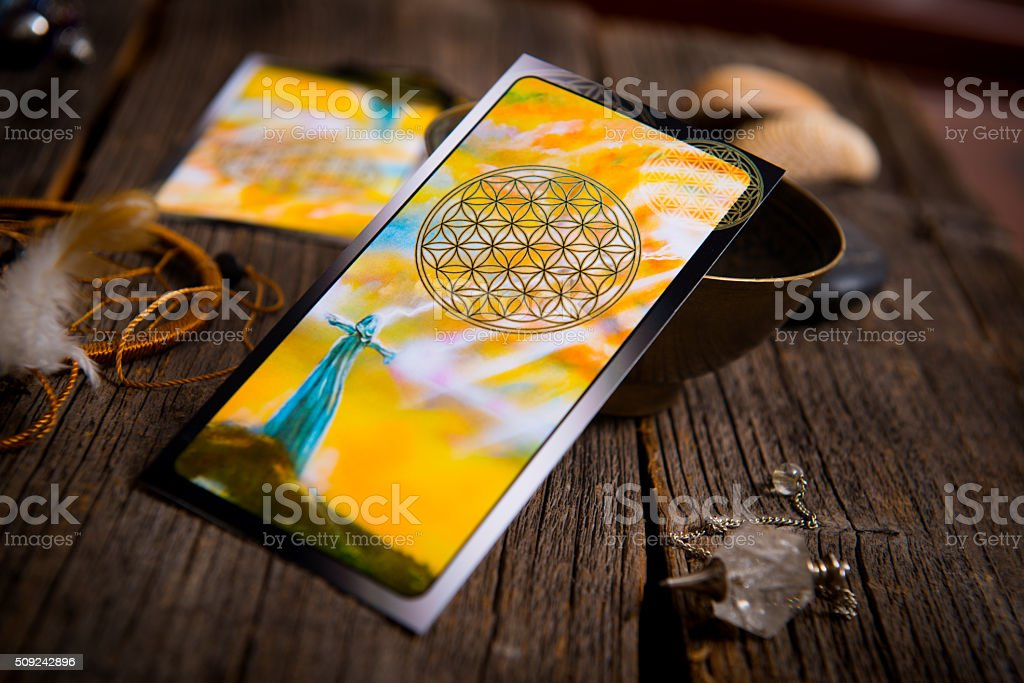 Tarot cards amd other accessories stock photo