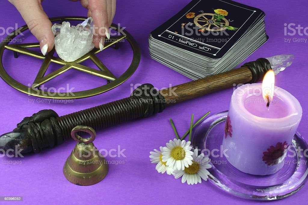 Tarot cards, crystals, candles and more for divination royalty-free stock photo