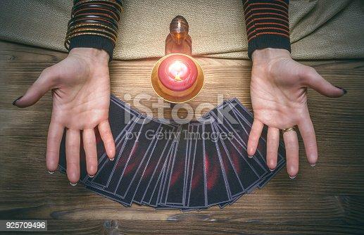 istock Tarot cards. Fortune teller. Future reading. Foreteller. 925709496